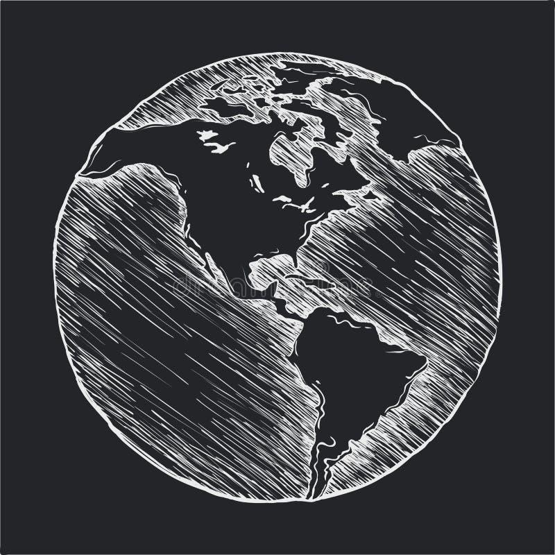 手图画线象 地球外形图 库存例证