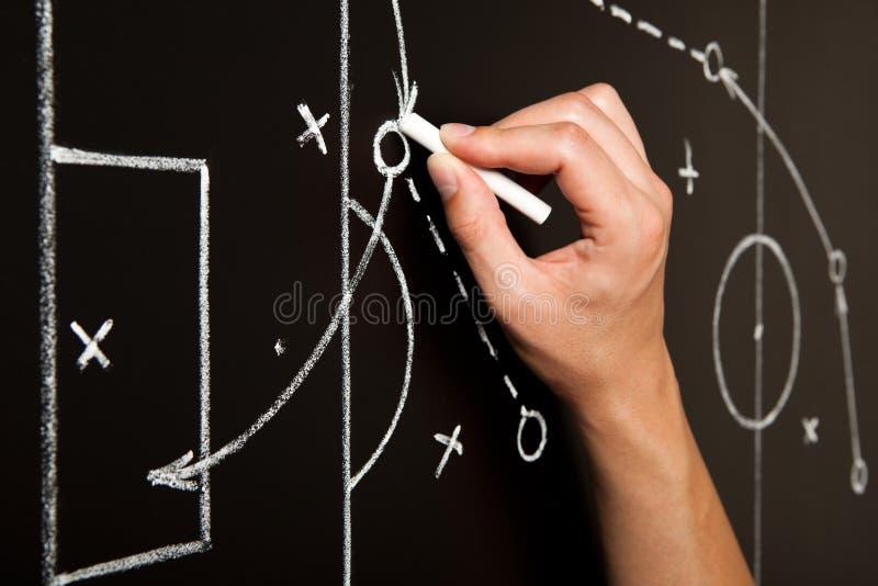 手图画足球赛战术 免版税库存照片