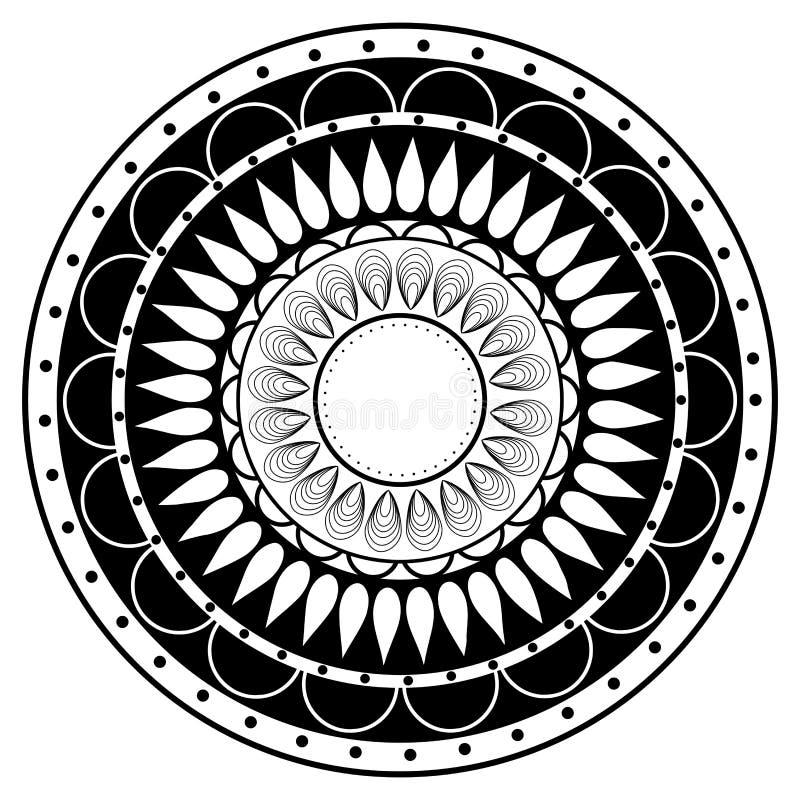 手图画zentangle在黑白的坛场元素 向量例证