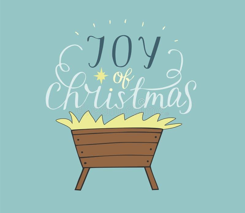 手圣诞节字法喜悦与饲槽的 皇族释放例证