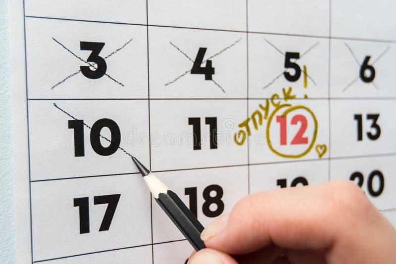手在与一支铅笔的假日前注销倒数第二的天在日历 免版税图库摄影