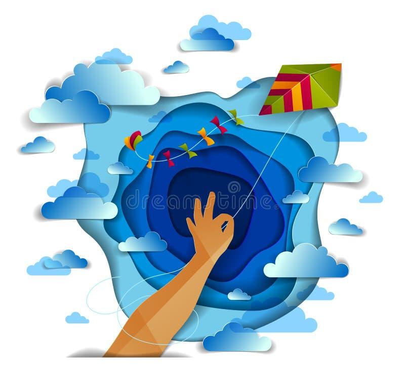 手在多云天空、自由和从容情感概念的藏品风筝 库存例证