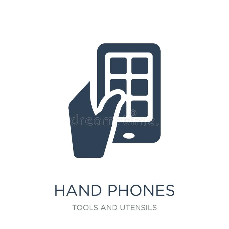 手在时髦设计样式的电话象 手在白色背景隔绝的电话象 手电话导航现代的象简单和 库存例证