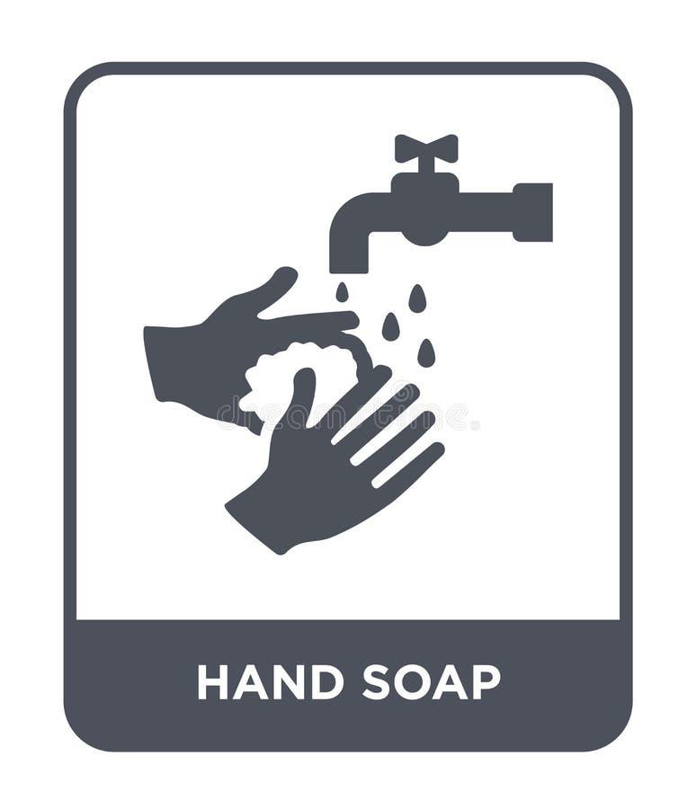 手在时髦设计样式的肥皂象 手在白色背景隔绝的肥皂象 手肥皂传染媒介象简单和现代舱内甲板 库存例证