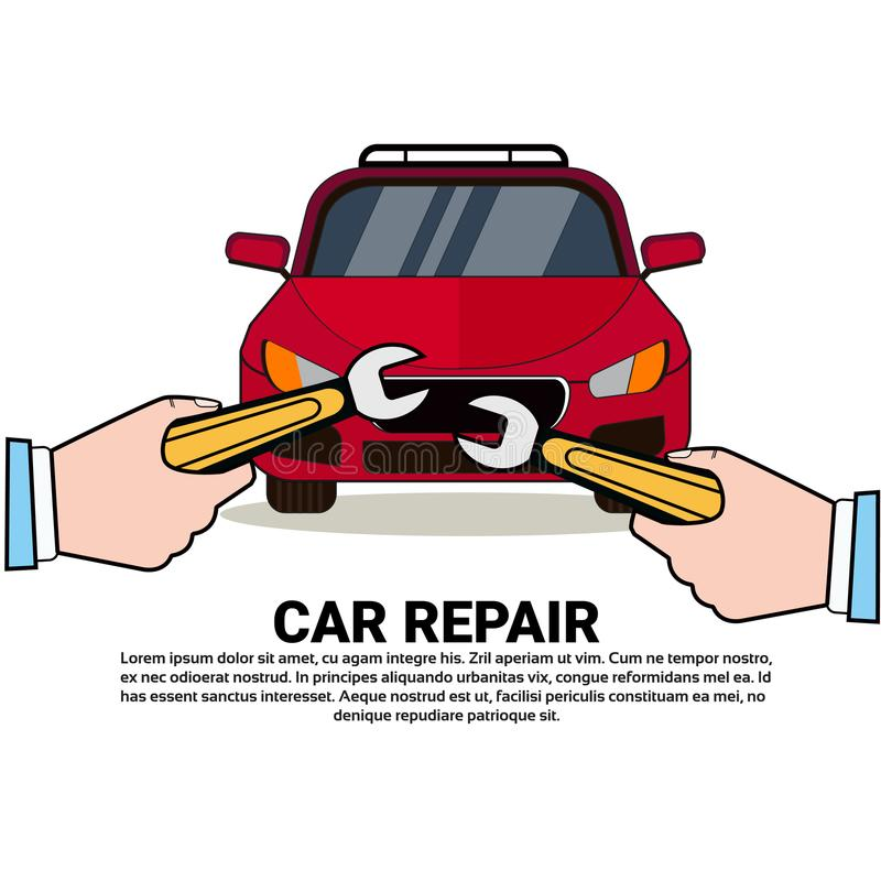 手在背景的修理汽车与拷贝空间自动Shor或技工中心概念 向量例证