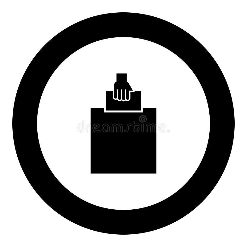 手在选民投掷在圆的圈子的一种票象黑色颜色的建议的一个箱子投入空白 皇族释放例证