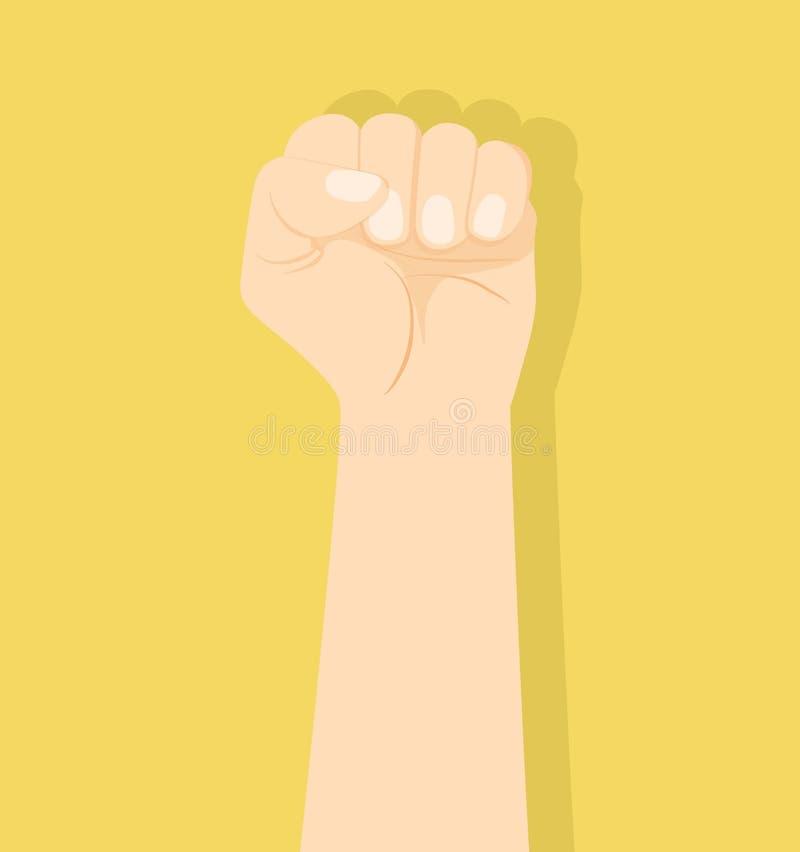 手在黄色背景的握紧拳头 皇族释放例证