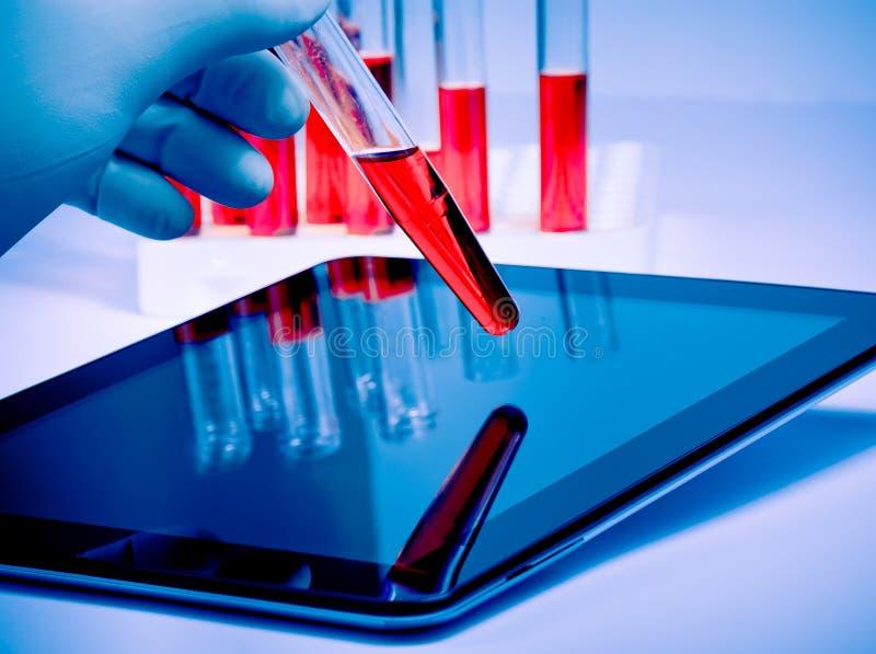 手在医疗蓝色手套举行在现代数字式片剂附近的试管在实验室 图库摄影