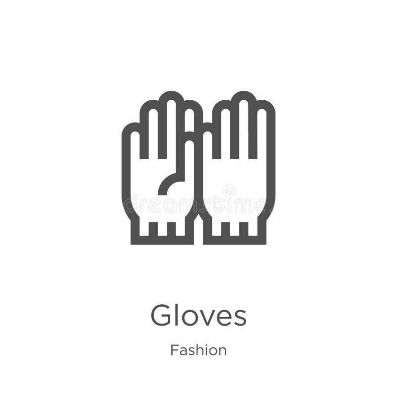 手套从时尚汇集的象传染媒介 稀薄的线手套概述象传染媒介例证 概述,稀薄的线手套象为 库存例证