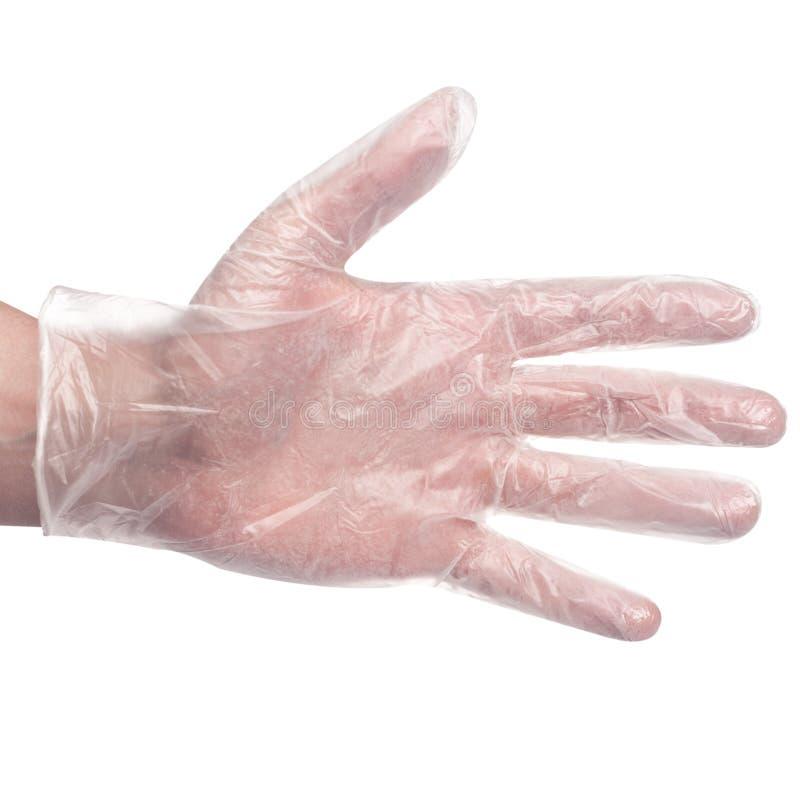 手套在手边在白色医疗背景 库存照片