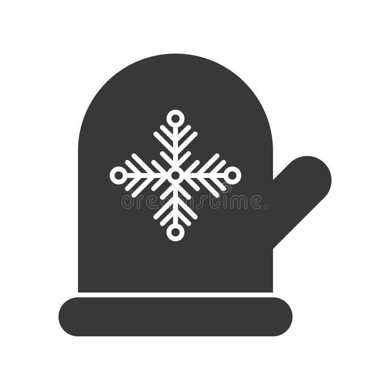 手套手套和雪花标志,圣诞快乐象集合,sol 库存例证