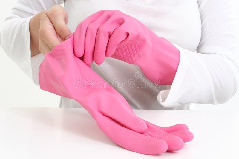 手套桃红色橡胶 库存图片