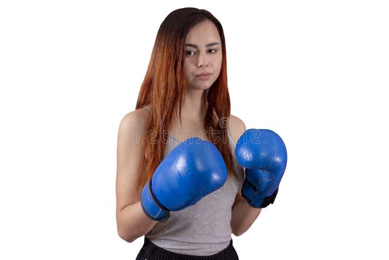 手套的拳击手女孩在被隔绝的背景的一件灰色T恤杉 库存照片