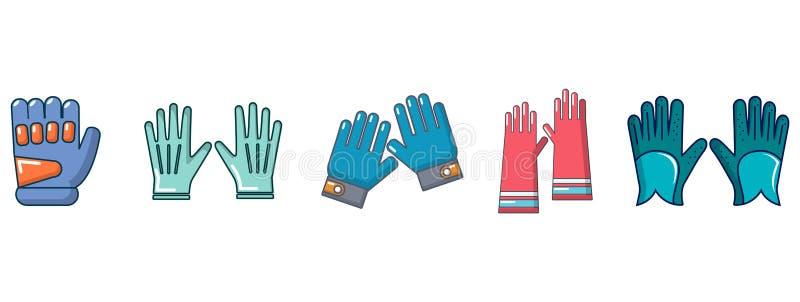 手套象集合,动画片样式 向量例证