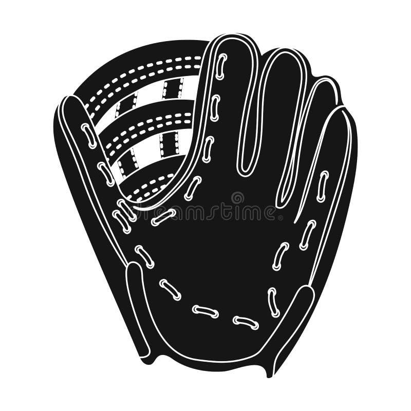 手套陷井 在黑样式传染媒介标志股票例证网的棒球唯一象 库存例证