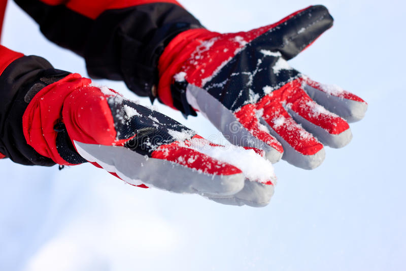 手套雪冬天 免版税库存图片