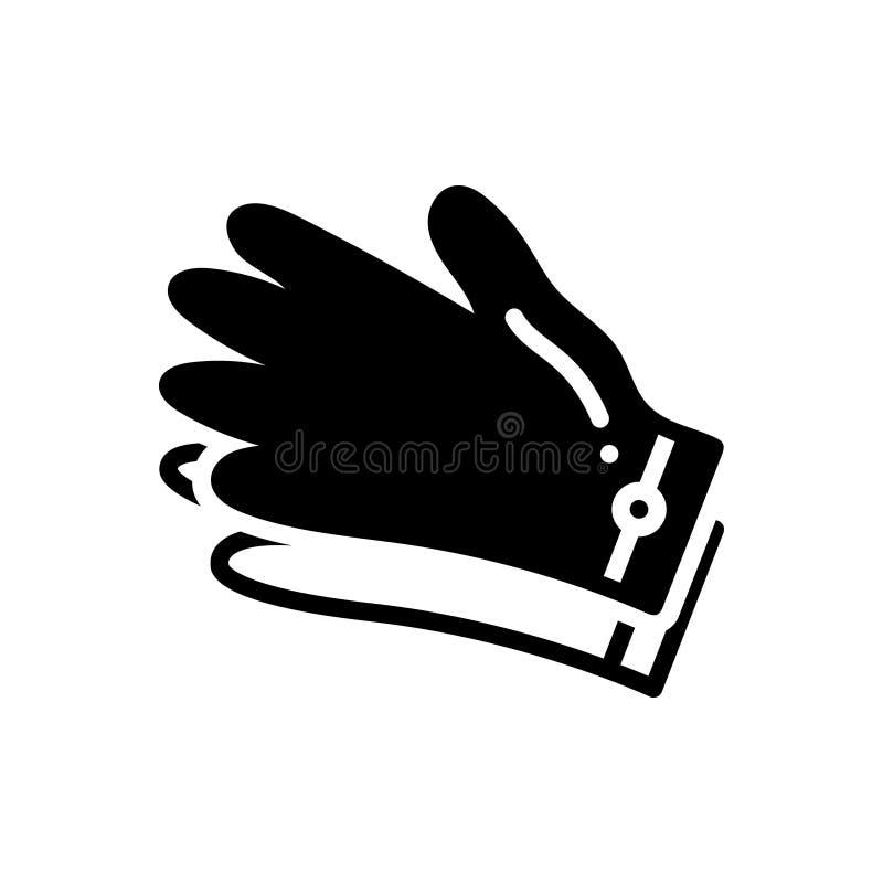 手套,手和防护的黑坚实象 向量例证