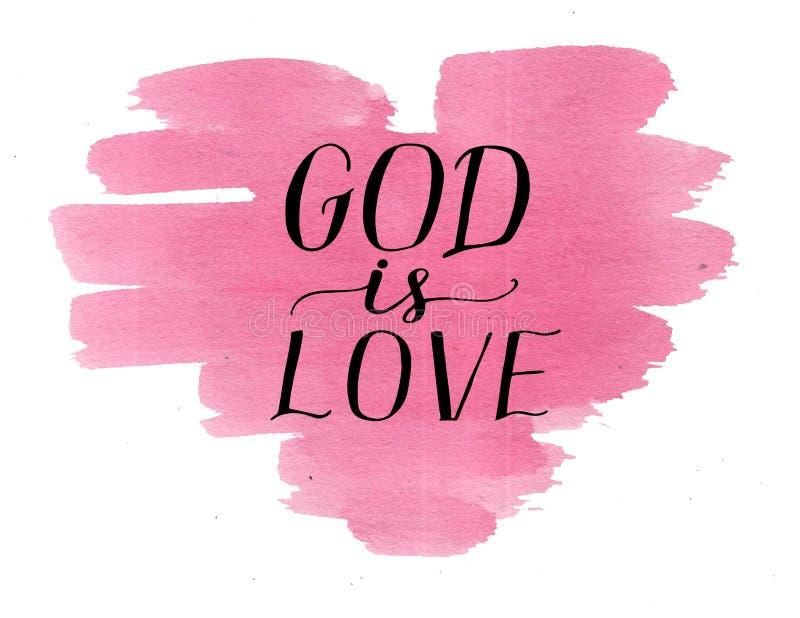 手字法上帝是在水彩桃红色心脏的爱 向量例证