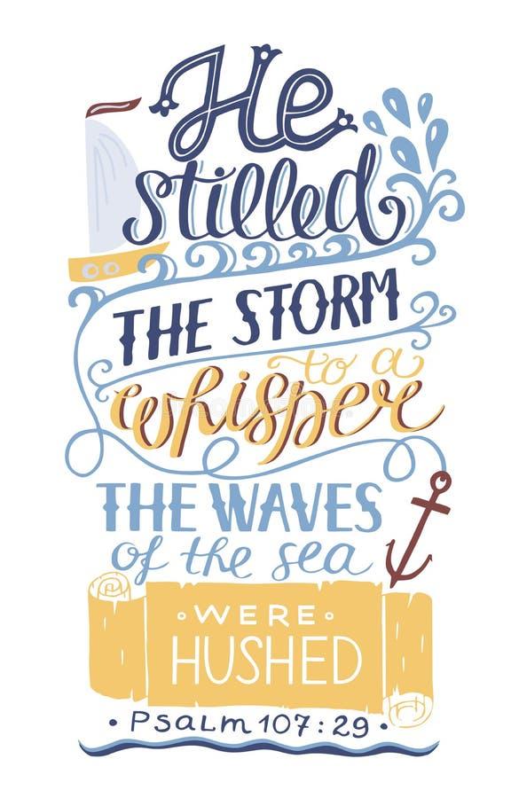 手字法他仍然风暴对耳语 赞美诗 向量例证