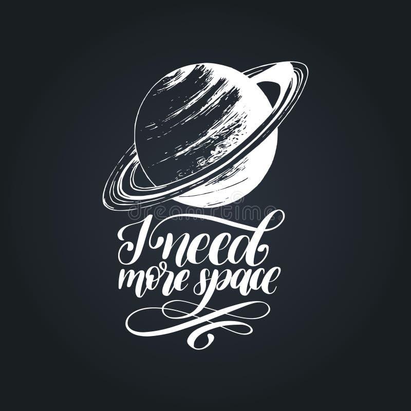 手字法我需要在黑背景的更多空间 土星行星的拉长的传染媒介例证 书法印刷术 皇族释放例证