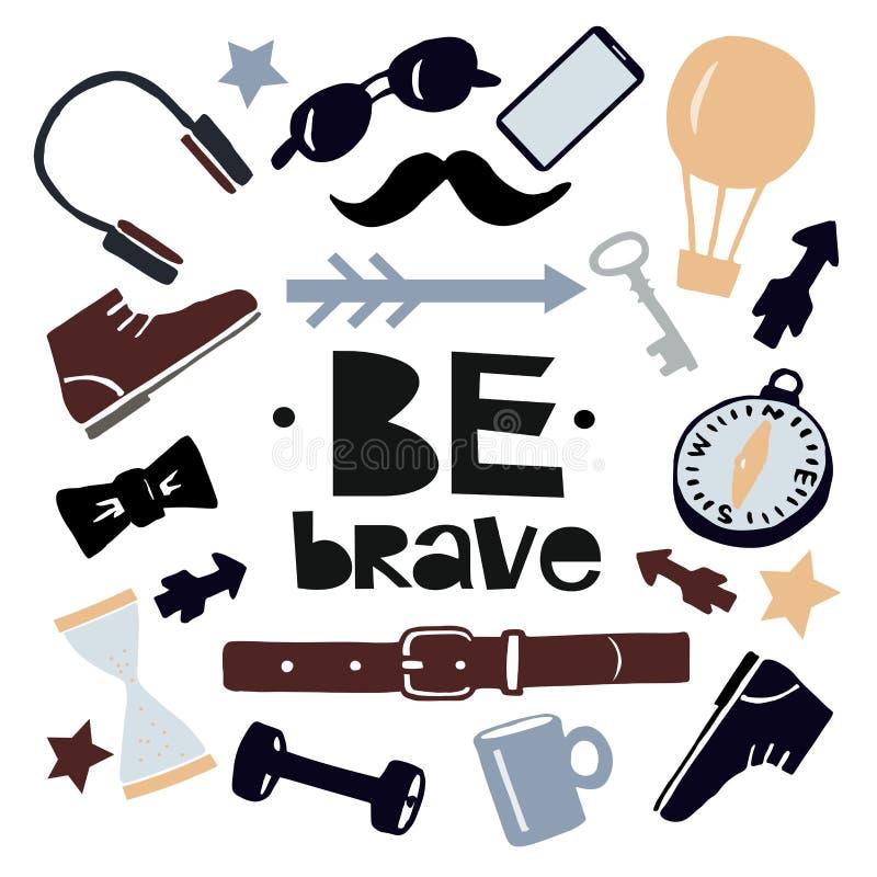 手字法是勇敢的与人的辅助部件 向量例证