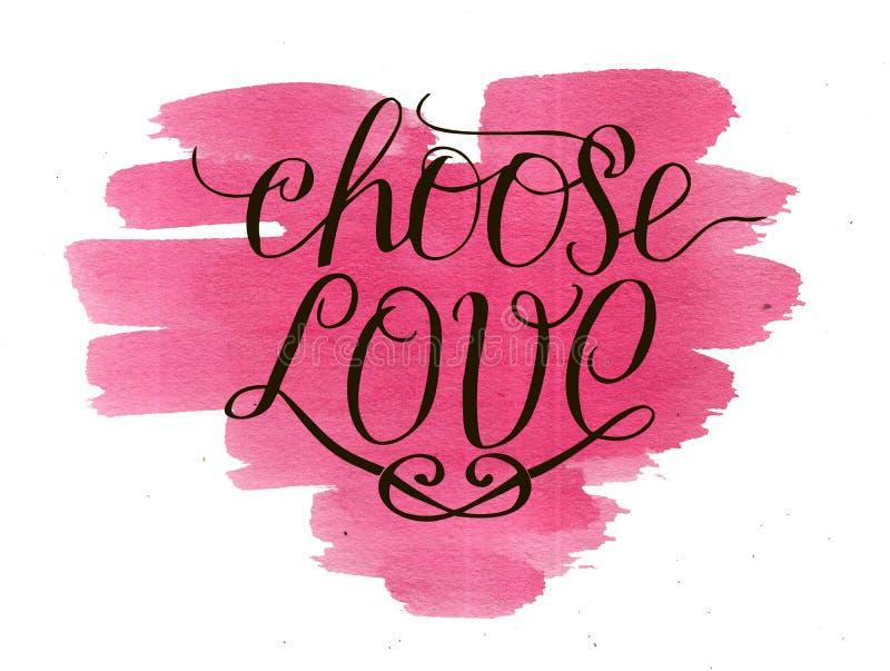 手字法选择在水彩背景的爱与桃红色心脏 库存例证