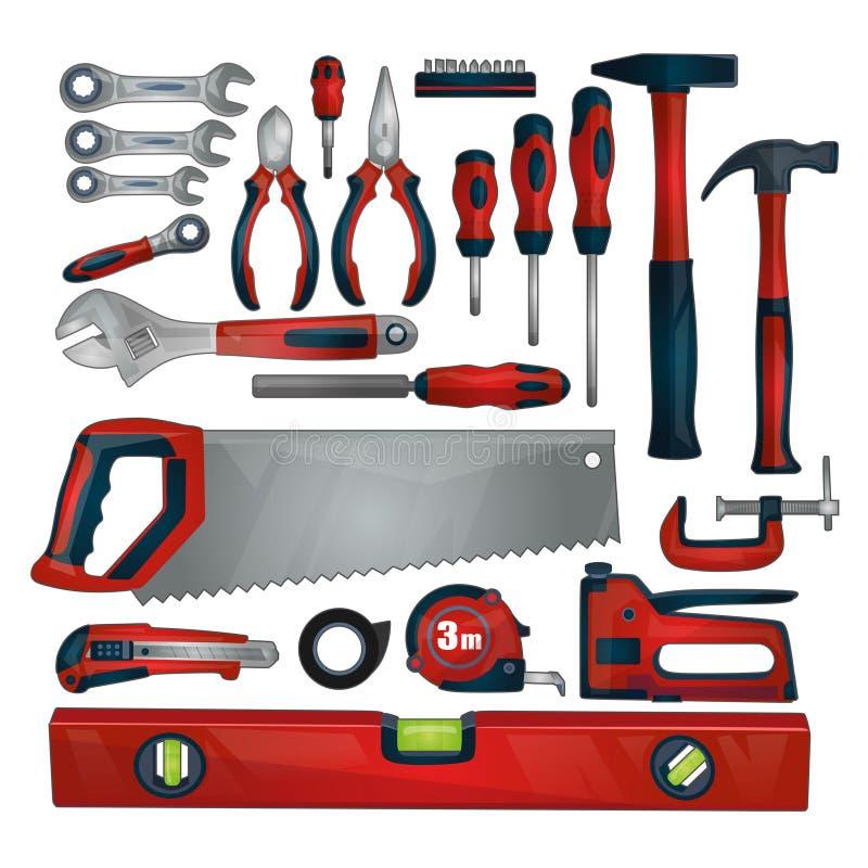 手工具在白色背景隔绝的象集合 修理、建筑和大厦的工具和仪器汇集 向量例证