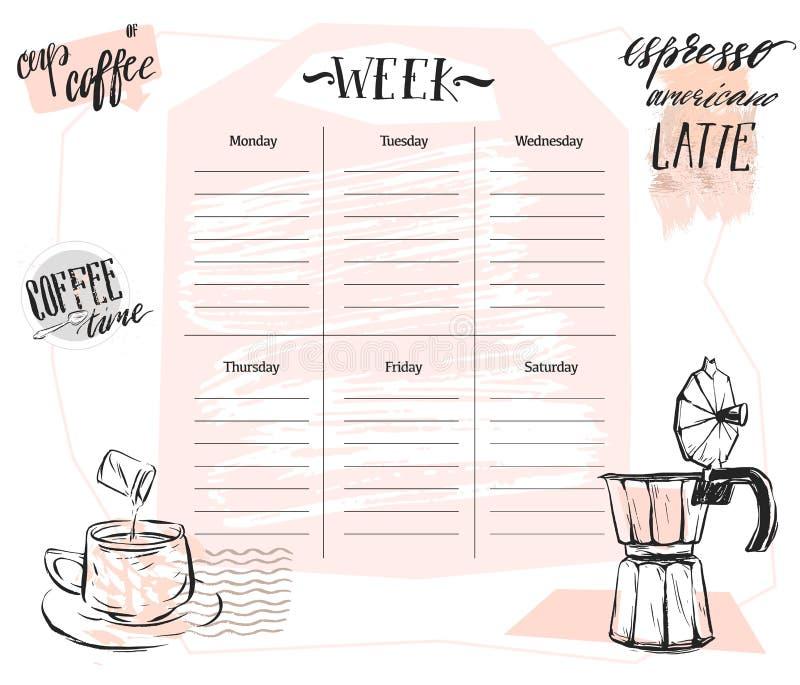 手工制造与图表咖啡例证的传染媒介摘要斯堪的纳维亚每周计划者模板在淡色 皇族释放例证