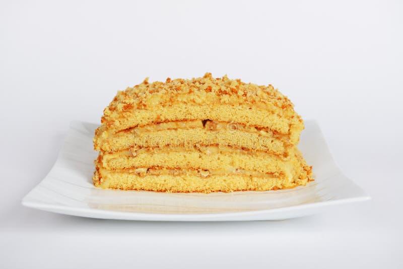 手工制造乳蛋糕蜜糕用核桃 免版税库存图片