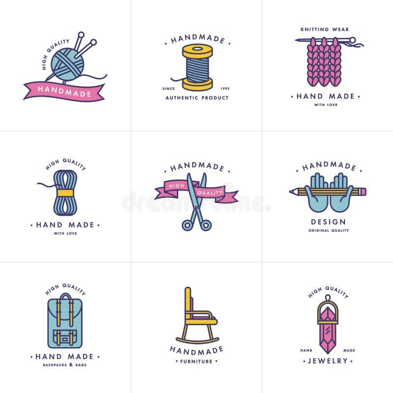 手工制造五颜六色的线被设置的商标 手工制造线性徽章或手工制造概述标签 向量例证