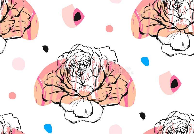 手工制造传染媒介摘要构造了时髦创造性的普遍与花卉牡丹主题的拼贴画无缝的样式 向量例证