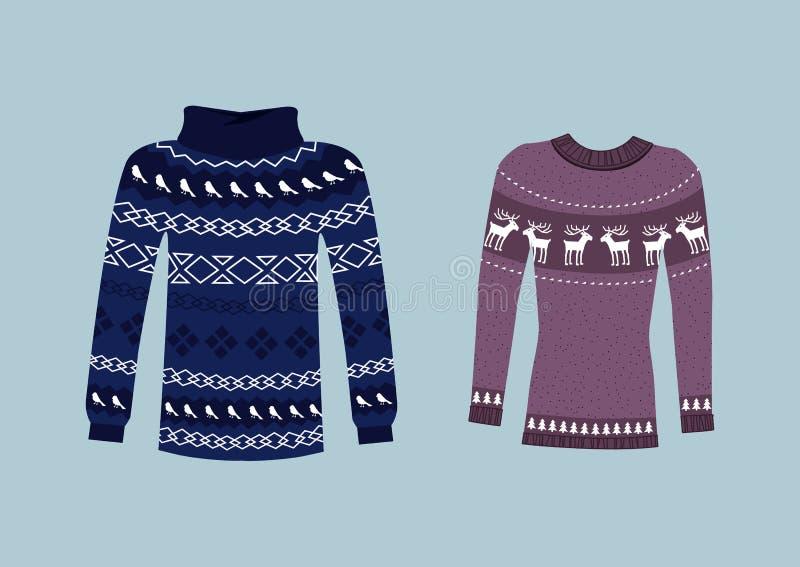 手工制造冬天温暖的毛线衣, Svitshot,套头衫 库存例证