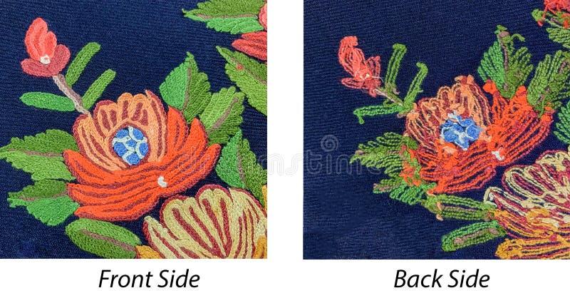 手工制造刺绣花纹花样以比较和查出人造刺绣的后面和前方视图被比较加工 库存照片