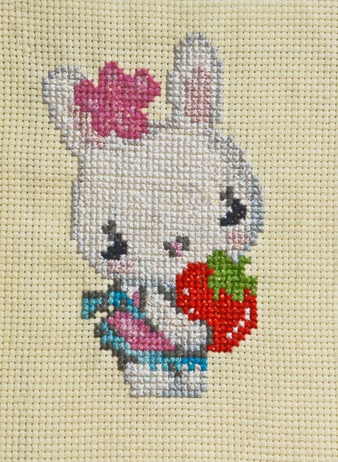 手工制造刺绣和十字绣兔子设计 免版税库存图片