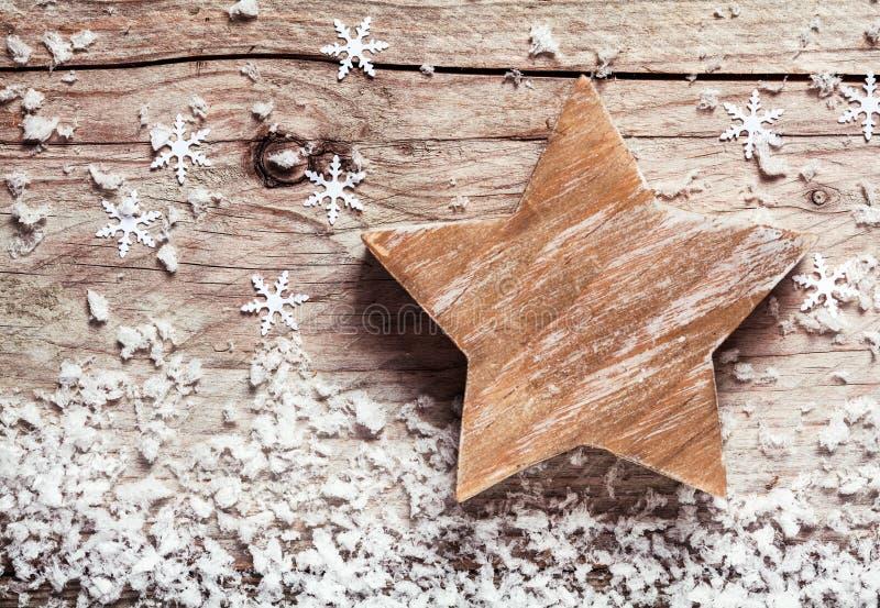 手工制造土气木圣诞节星 免版税图库摄影