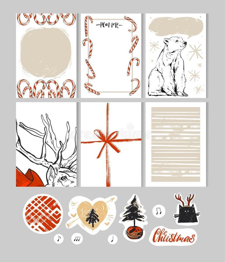 手工制造圣诞节设置与卡片,笔记,贴纸,标签,邮票,标记与冬天和圣诞节例证和愿望 库存例证