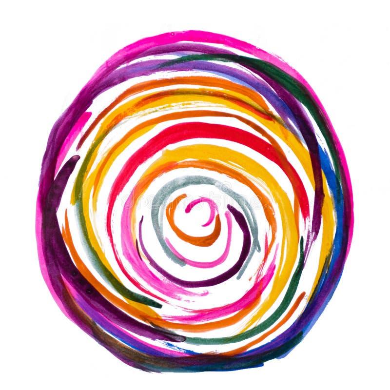 手工制造多色水彩摘要圈子 图库摄影