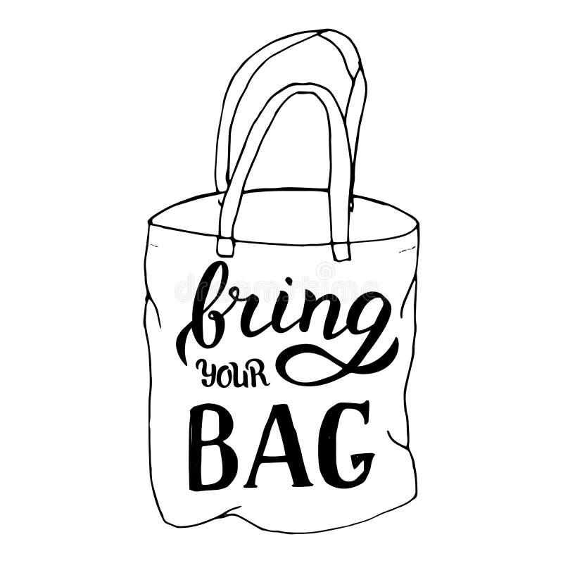 手工制造带来您的袋子模板 E 商店广告的现代横幅 向量例证