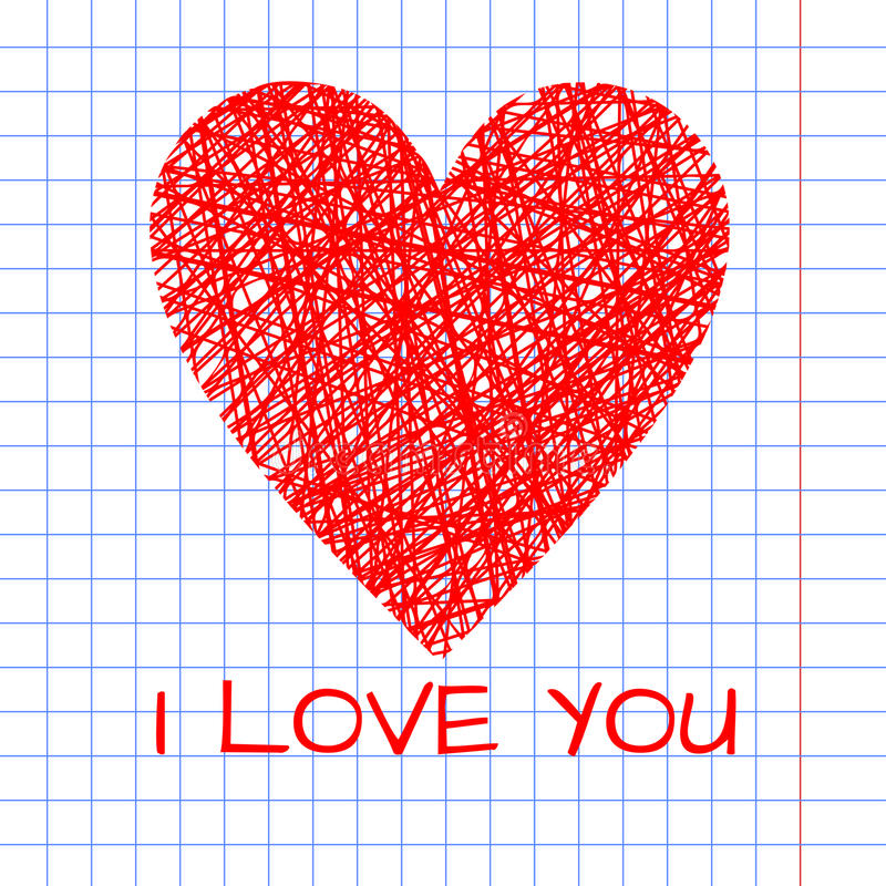 手工制造柳条心脏的乱画例证 库存图片