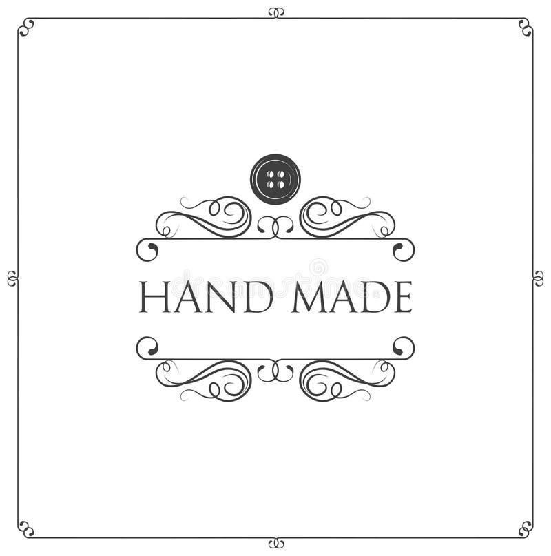 手工制造标签 按钮,漩涡,金银细丝工的框架 车间象征 泰勒商标 向量 皇族释放例证