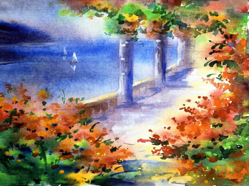 手工制造水彩五颜六色的明亮的织地不很细抽象的背景 地中海横向 建筑学和vegetati绘画  库存例证
