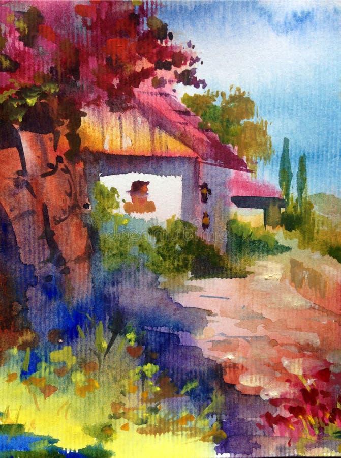 手工制造水彩五颜六色的明亮的织地不很细抽象的背景 地中海横向 沿海建筑学绘画  库存例证