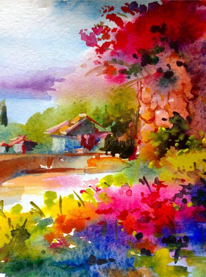 手工制造水彩五颜六色的明亮的织地不很细抽象的背景 地中海横向 沿海绘画  皇族释放例证