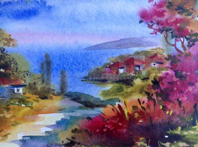 手工制造水彩五颜六色的明亮的织地不很细抽象的背景 地中海横向 沿海绘画  库存例证