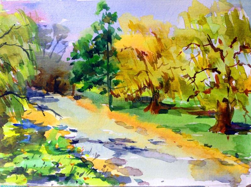 手工制造水彩五颜六色的明亮的织地不很细抽象的背景 地中海横向 绘公园 库存例证