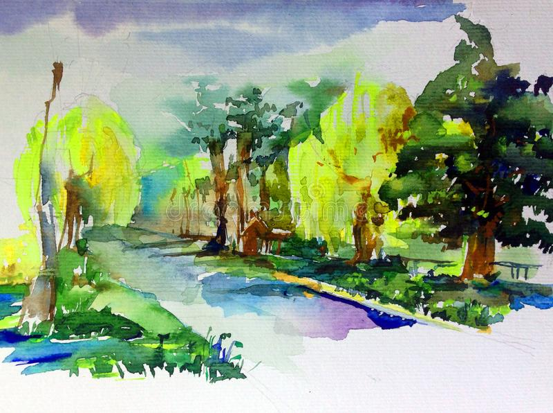 手工制造水彩五颜六色的明亮的织地不很细抽象的背景 地中海横向 绘公园 皇族释放例证