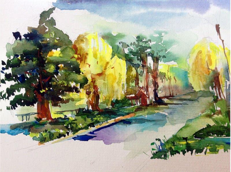 手工制造水彩五颜六色的明亮的织地不很细抽象的背景 地中海横向 绘公园 向量例证