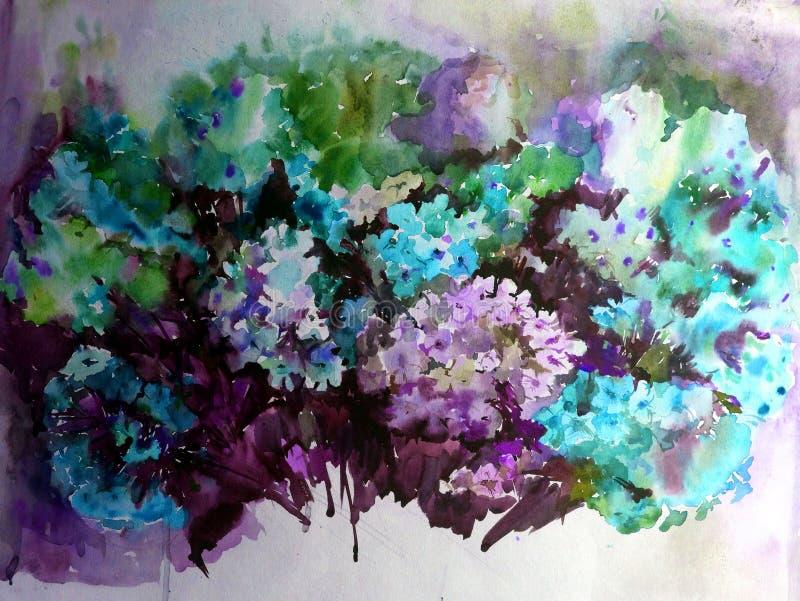 手工制造水彩五颜六色的明亮的织地不很细抽象的背景 蝴蝶下落花卉花重点模式黄色 花花束在庭院里 向量例证