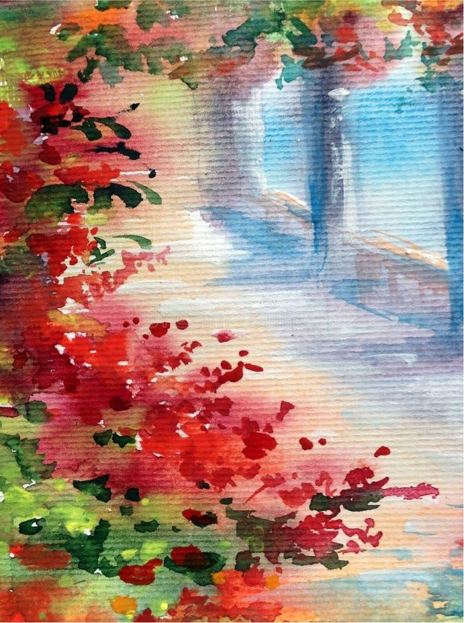手工制造水彩五颜六色的明亮的织地不很细摘要的背景 地中海风景 建筑学和vegetati绘画  皇族释放例证