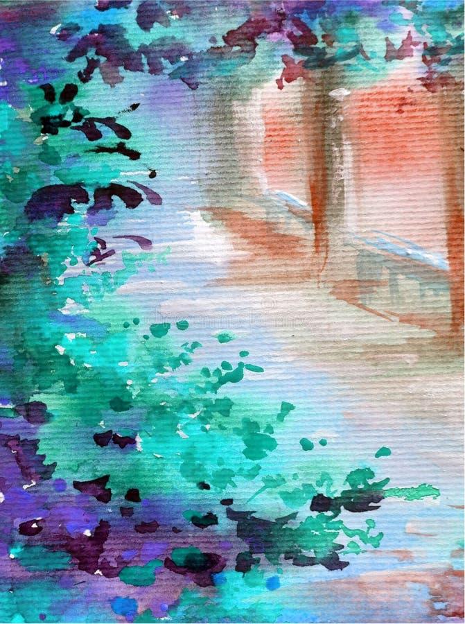 手工制造水彩五颜六色的明亮的织地不很细摘要的背景 地中海风景 建筑学和vegetati绘画  库存例证